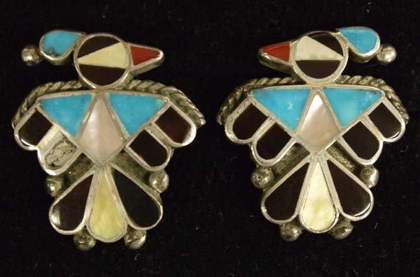 1960s Zuni Sterling Inlay Thunderbird Earrings