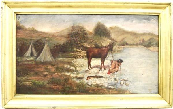 Original 1922 Oil Painting Apache Warrior, Madsen