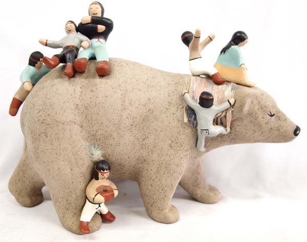 Hand Painted Pottery Bear Storyteller by J. Bower