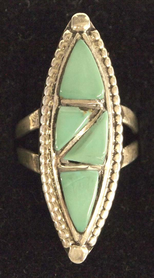 1970s Zuni Sterling Turquoise Inlay Ring, Sz 7.25