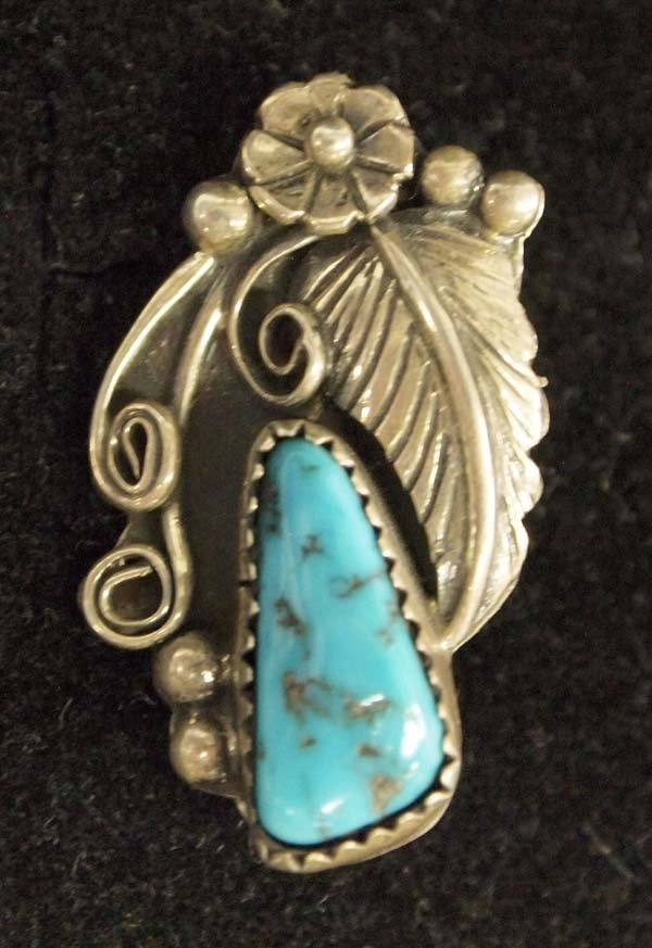 1970s Navajo Sterling Silver Turquoise Pin