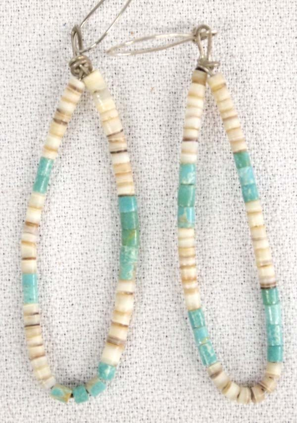 Vintage Navajo Turquoise and Shell Bead Earrings