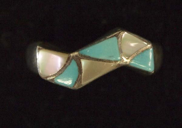 Zuni Sterling Silver Inlay Ring by Kallestewa, Size 7.5