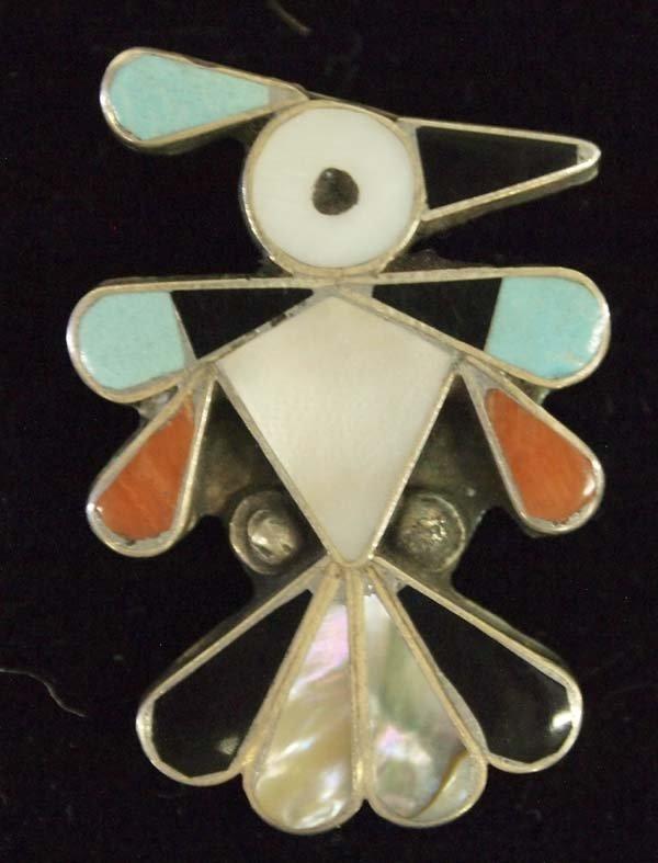Vintage Zuni Sterling Silver Inlay Thunderbird Pin