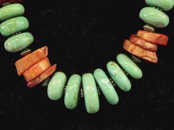 Southwestern Turquoise Red Branch Coral Necklace