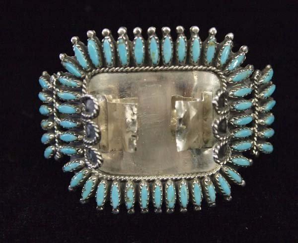 Zuni Sterling Needlepoint Turquoise Watch Bracelet