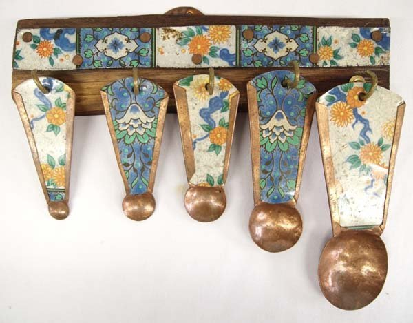 Vintage Folk Art Tin and Copper Measuring Spoons