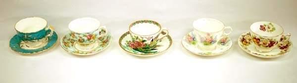 5 Antique Fine Porcelain Tea Cups and Saucers