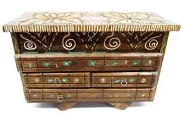 Vintage Mexican Large Carved Wooden Jewelry Box