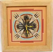 Navajo Sand Painting Clock by Alvina Begay
