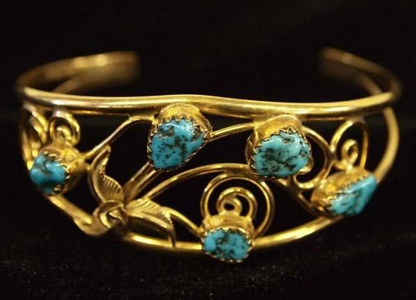 Navajo Gold Filled Sterling Turquoise Bracelet