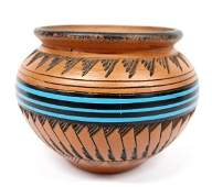 Navajo Incised Pottery Jar by E. + S. Watchman