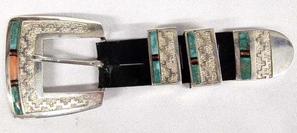 Stunning Navajo Silver Inlay Ranger Belt Buckle