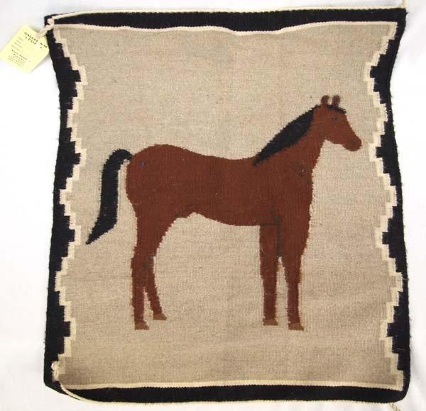 Navajo Pictorial Horse Woven Textile Rug