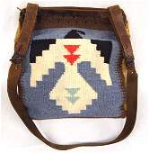 Antique Iroquois Double Sided Beaded Leather Pouch