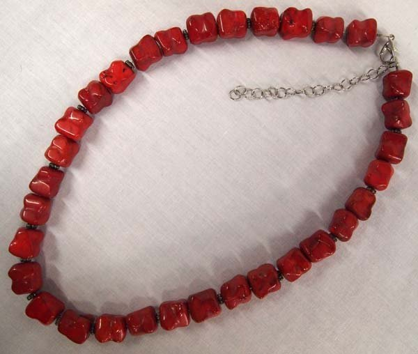 Coral Bead Necklace with Sterling Silver Spacers - 2