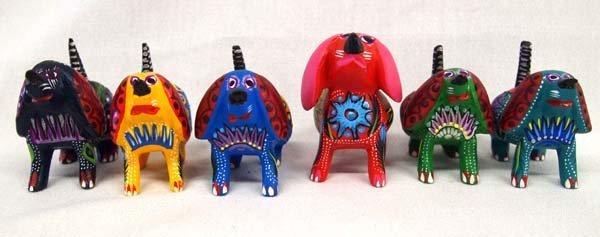 6 Mexican Oaxacan Carved Wood Dog Alebrijes