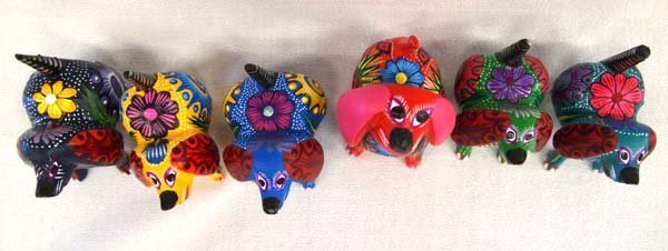 6 Mexican Oaxacan Carved Wood Dog Alebrijes - 2