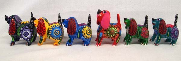 6 Mexican Oaxacan Carved Wood Dog Alebrijes - 3
