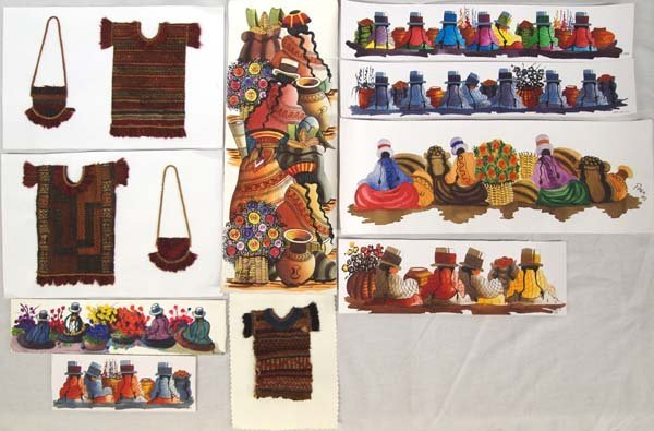 Original Peru Watercolors & Miniature Textiles