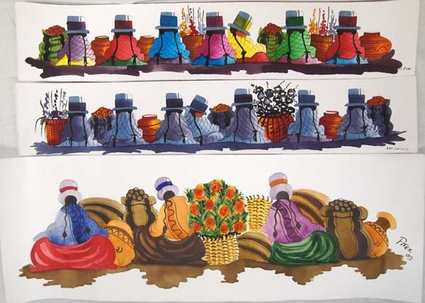 Original Peru Watercolors & Miniature Textiles - 2
