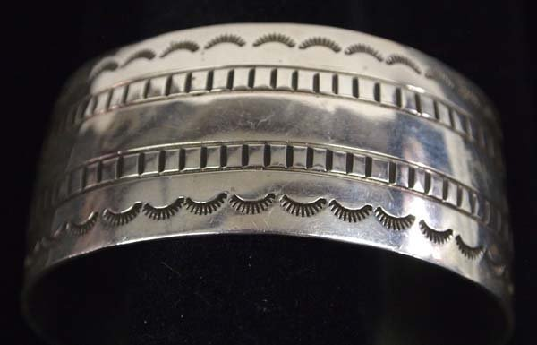 Beautiful Navajo Sterling Hand Stamped Bracelet