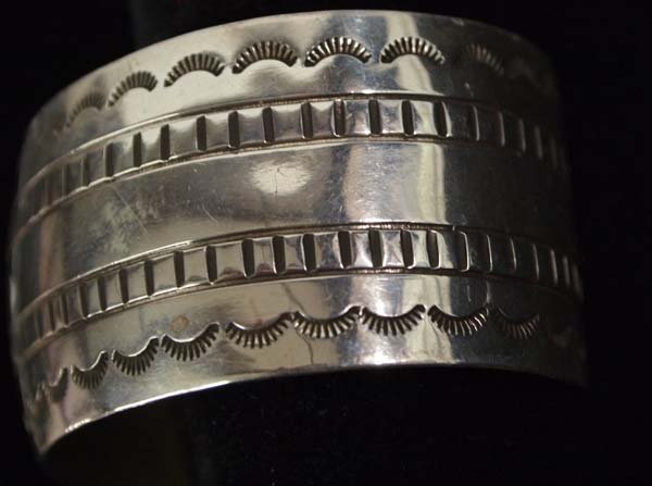 Beautiful Navajo Sterling Hand Stamped Bracelet - 2