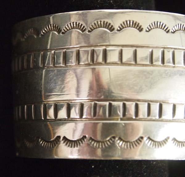 Beautiful Navajo Sterling Hand Stamped Bracelet - 3
