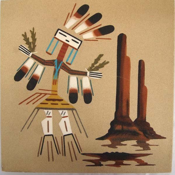 Navajo Yei Dance Sand Painting by L. C. Franks