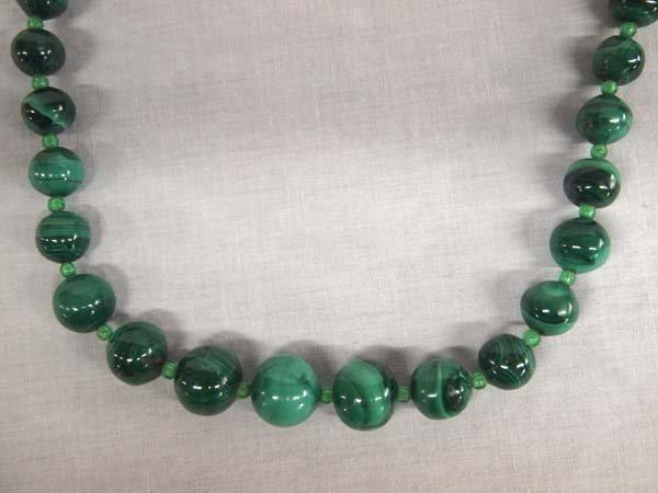 Malachite Graduated Bead Necklace