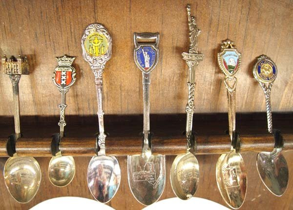 Large Collection of Collector's Spoons in Rack - 2