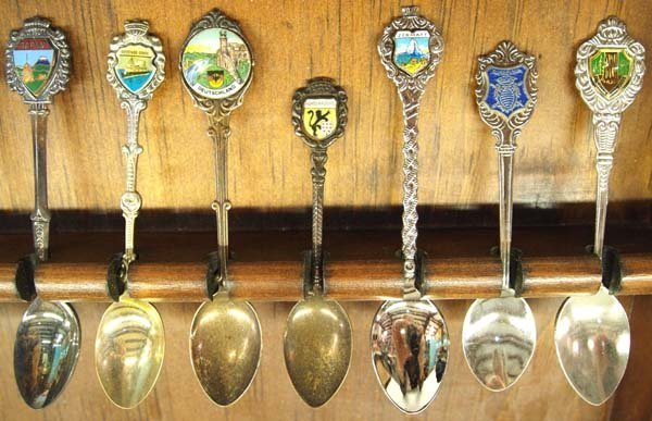 Large Collection of Collector's Spoons in Rack - 3