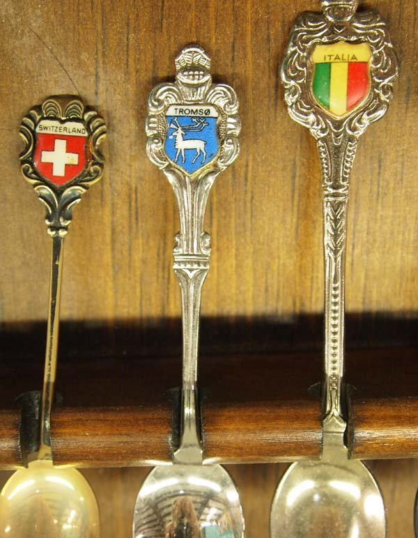 Large Collection of Collector's Spoons in Rack - 6