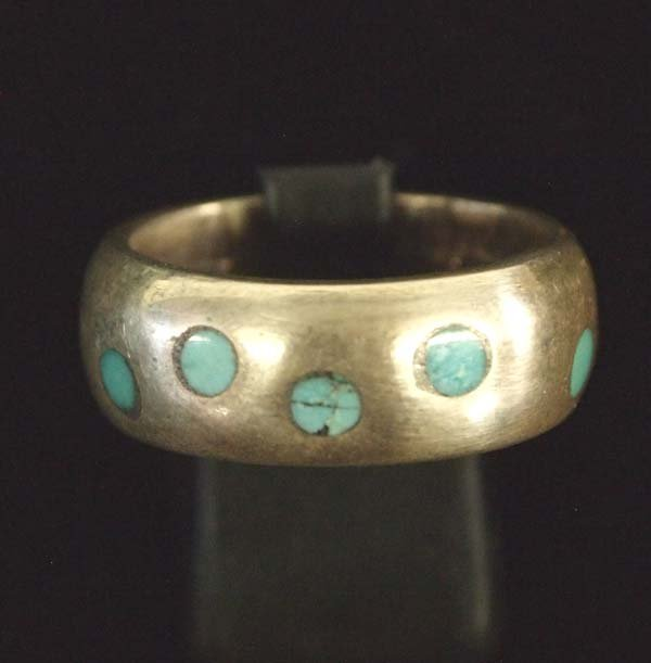 Navajo Sterling Silver Turquoise Wedding Band