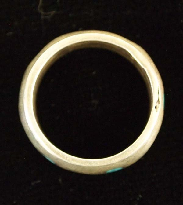 Navajo Sterling Silver Turquoise Wedding Band - 2