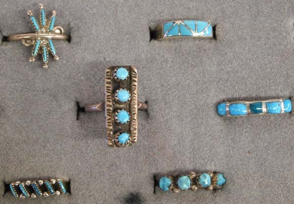 6 Native American Zuni Silver Turquoise Rings