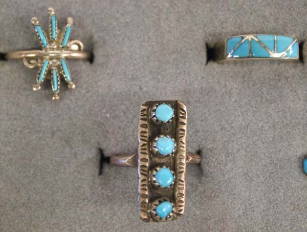 6 Native American Zuni Silver Turquoise Rings - 2