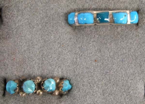 6 Native American Zuni Silver Turquoise Rings - 4