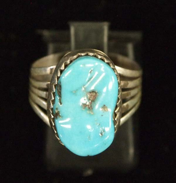 Native American Navajo Silver Turquoise Ring, 6.75