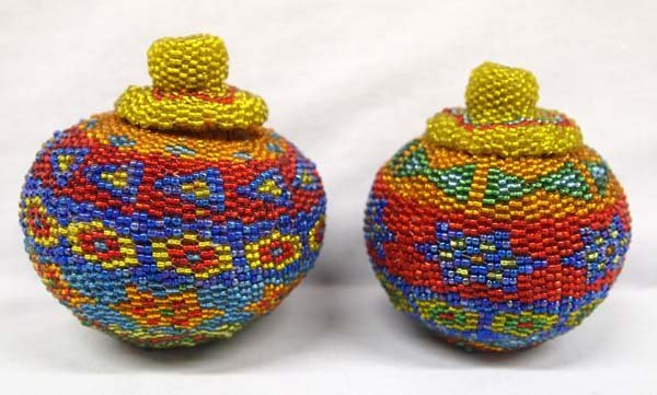 2 Hand Woven Indonesian Rattan Beaded Baskets