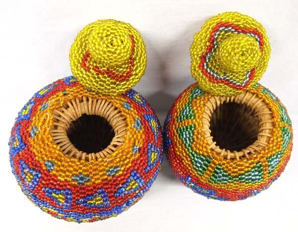 2 Hand Woven Indonesian Rattan Beaded Baskets - 2