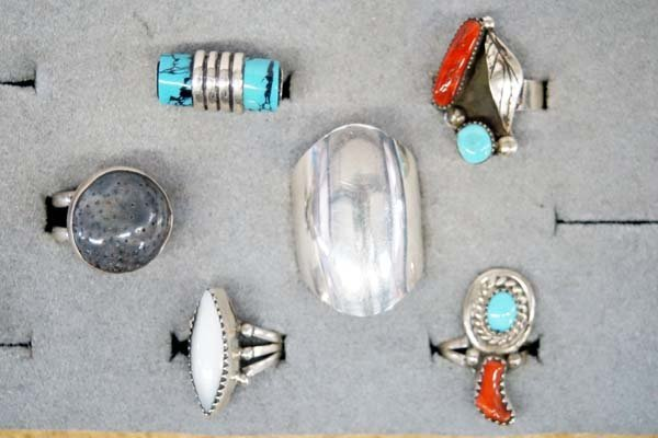 6 Native American Navajo Sterling Silver Rings