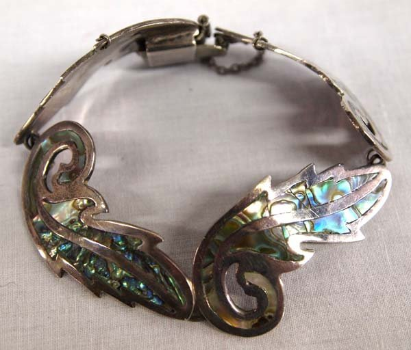 Vintage Taxco Silver Inlay Abalone Shell Bracelet - 2