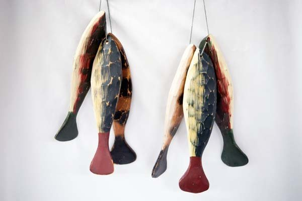 Carved Wooden Fish on Stinger, for Display
