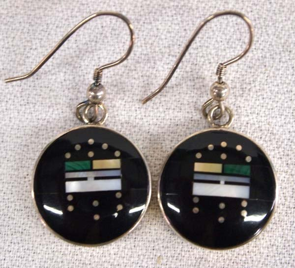 Navajo Sterling Inlay Earrings by Jimmie Harrison