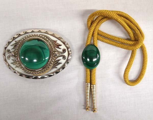 Western Malachite Belt Buckle and Bolo Tie