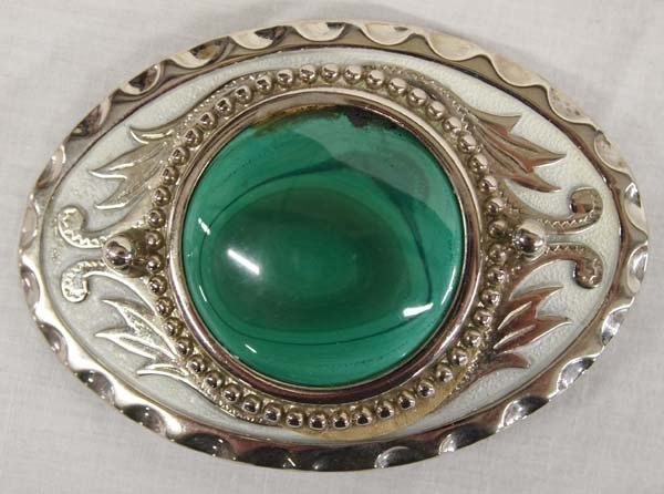 Western Malachite Belt Buckle and Bolo Tie - 3
