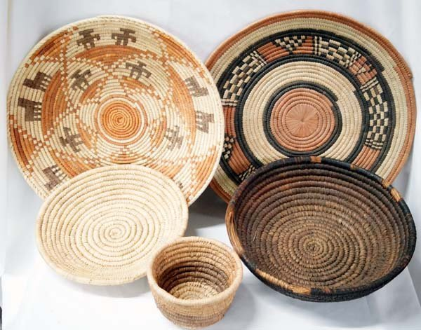Collection of 5 Ethnic Baskets Some Tri Colored