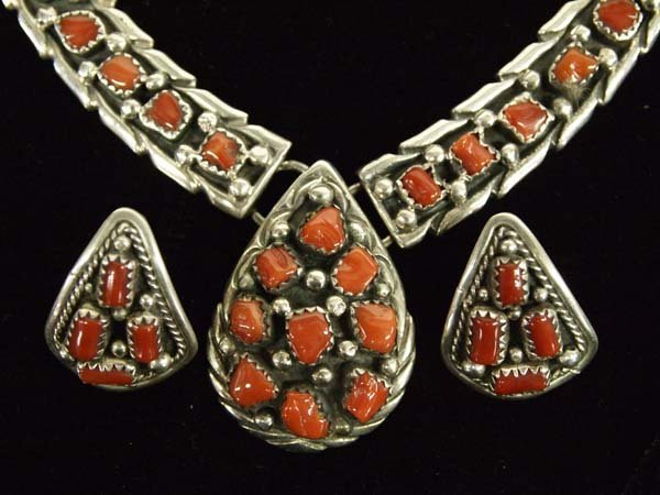 Navajo Sterling and Coral Necklace and Earrings
