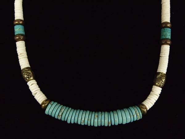 Zuni Turquoise and Clamshell Heishi Necklace